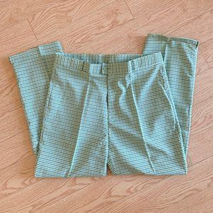 Vintage Green Plaid Ankle Cropped Pants Trousers